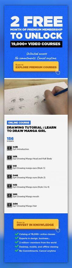 Drawing Tutorial : Learn to Draw Manga girl Illustration, Drawing, Character Design, Manga, Comics, Creative, Figure Drawing, Comic Art, Sketch #onlinecourses #onlinecollegeorganization #onlineeducationmarketing