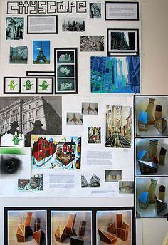 "Fine art. GCSE 2012. OCR. Final exam (OCR-set task) exhibition. ""Cityscape"". Gregory Minton-Branfoot. William de Ferrers School."