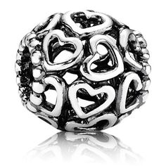 Valentine's Day 2012 Collection  Openwork Filigree Hearts Charm in Sterling Silver  U.S. Patent No. 7,007,507