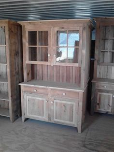 kitchen dining hutch | Reclaimed Barn Wood Kitchen Dining Hutch China Cabinet With Drawers