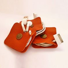 Make this with our oil tan scrap leather! From theleatherguy.org Leather Earphone Holder Organizer Cord Organizer by LocustBay