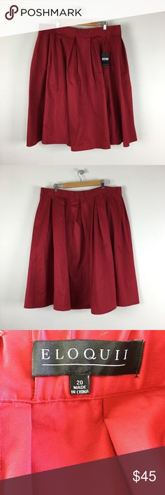 """Eloquii Womens Pleated A-Line Career Skirt Name Brand: Eloquii Condition: New With Tags  Size: 20 (see measurements)  Color: Red   Style: Skirt  Material: Cotton Blend   Always check the measurements, label sizes are not consistent.   Measurements are approx and are of item laying flat and unstreched: Waist: 20.5-21.5"""" Length: 29"""" Eloquii Skirts"""
