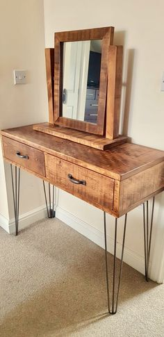 Rustic Industrial Plank Dressing Table and Mirror Set with Metal Hairpin Legs – chunky wood vintage retro - Modern Raw Furniture, Furniture Layout, Furniture Arrangement, Rustic Furniture, Living Room Furniture, Furniture Design, Furniture Stores, Office Furniture, Furniture Outlet