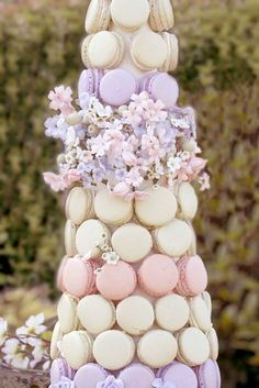 Stunning macaron tower at a Parisian Party!  See more party ideas at CatchMyParty.com!