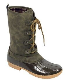 Olive Duck Lace-Up Boot - Women