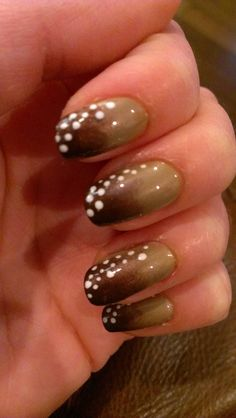Baby deer nails: China Glaze Unplugged (dark brown), Finger Paints Putty in my Hands (light brown), and Opi Alpine Snow (white dots)