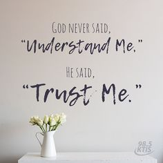 You might not always understand the path God takes you on, but you can always trust Him. Twin Cities Christian Radio    LISTEN NOW on myktis.com  #inspirationalquote #uplifting #quoteoftheday #christianquotes