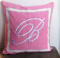 Pink Monogrammed embroidered pillow Cover Pink by Snazzyliving