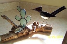 Stained glass roadrunner/cactus on driftwood | Designs-in-Stained-Glass - Glass on ArtFire