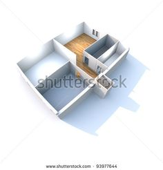 Sold at Shutterstock: Architecture - Conceptual, work in progress - House plan in 3D isolated on white background. by eZeePics Studio, via ShutterStock