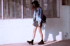 creeper shoes, jacket, dress, backpack
