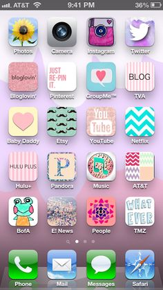 Customize your phone with cute icons...why yes I did. Use this blogpost, it's much easier to understand. I love it.  http://supermessysupermommy.blogspot.com/2013/03/iphone-customizationfinally.html