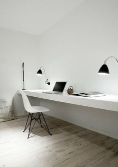 Home office workspace design. An extra seat at your desk is great for your startup co-founder or partner in crime.