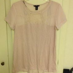 H&M pastel pink long tee Sheer at the top with lace pattern. Cute pastel pink color thin fabric.  H&M Tops Tees - Short Sleeve