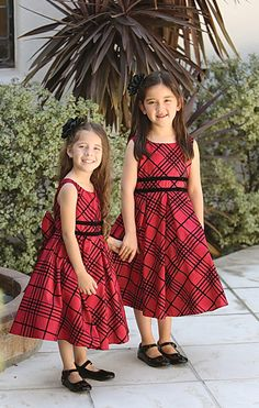 A classy style that perfect for your next event. We love this style because it is a timeless piece that can be worn over and over. The plaid dress features doub. Red Flower Girl Dresses, Girls Dresses, Plaid Wedding, Box Pleat Skirt, Pleated Skirt, Red And Black Plaid, Plaid Dress, Holiday Dresses, Timeless Fashion