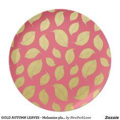 GOLD AUTUMN LEAVES - Melamine plate