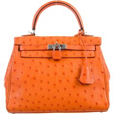 Pre-owned Herm?s 2015 Ostrich Kelly Retourne 25 (236.687.350 IDR) ❤ liked on Polyvore featuring bags, handbags, orange, pre owned purses, zipper purse, orange handbags, orange purse and locking purse