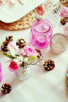 Pink Winter Table Decoration Table Setting