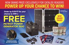 """POWER UP YOUR CHANCE TO WIN!<br> <span style=""""font-size:18px;"""">You Could Win A FREE Patriot Power Generator 1500</span>"""