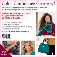 Ladies its here! The 125.00 giveaway event from our sponsor Monroe and Main Come read all about ‪#‎MMColorConfidence‬ and how to use bold, vivid colors this Fall season. THEN enter my giveaway for 125 RTV in Monroe and Main Prizes - then enter 24 more giveaways for the same prize! That gives you 25 total chances to win! http://www.fashionbeyondforty.com/2015/08/color-confidence-obsessed-with-orange.html