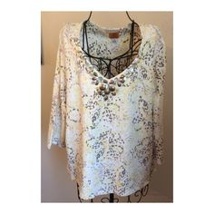 Decorative Ruby Road Pull Over Top 95%Cotton,5% Spandex.  3/4 sleeves. The front is V-neck with decorative beads and shells Ruby Road Tops Blouses