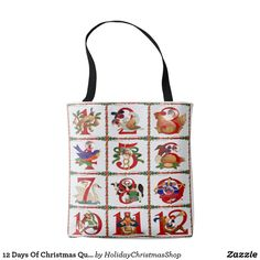 12 Days Of #Christmas Quilt Print #Tote #Bag