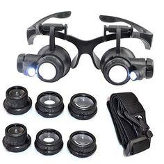 Kabalo 10X 15X 20X 25X LED Magnifier Double Eye Glasses Loupe Lens Jeweler Watch Repair Tool Set – Lunettes Loupe Regarder outil de…