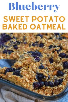 This sweet potato oatmeal recipe is easy and flavorful with sweet potatoes and blueberries. It's an easy brunch recipe, and a great breakfast for kids! #bakedoatmealrecipe #sweetpotatooatmeal #breakfastforkids #mealprepbreakfast Sweet Potato Oatmeal Recipe, Baked Oatmeal Recipes, Breakfast Bake, Breakfast For Kids, Easy Brunch Recipes, Meal Prep, Blueberry, Meals, Baking