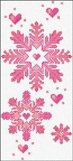 free pink snowflake cross stitch chart