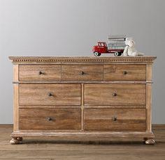"Jameson Wide Dresser - $1279 - Hand-carved dentil detail and crown molding with planked wood top -  60""W x 18""D x 36""H - antique natural - Restoration Hardware"