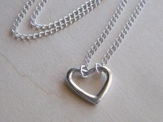 Sterling Silver Floating Heart Charm Necklace by LadyInPurple, $22.00