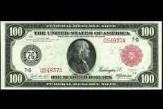 United States banknotes One Hundred Dollar Federal Reserve Note Series 1914 Dallas Portrait of Benjamin Franklin at the center of the bill. Federal Reserve Note, 100 Dollar Bill, Old Money, Cash Money, Rare Coins, Old Paper, Coin Collecting, The 100, Notes