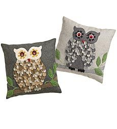 Decorative Owl Accent Pillow Covers With Appliqué And Embroidery