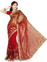 Red Color Half Brasso & Half Georgette Festival & Function Wear Sarees : Sharvari Collection YF-37218