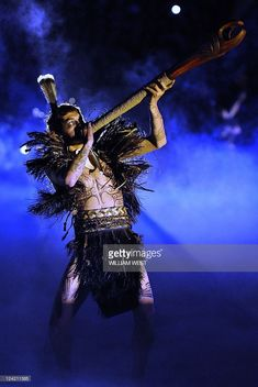 A Maori performs with a pukaea during the opening ceremony of the 2011 Rugby World Cup at the Eden Park stadium in Auckland on September Get premium, high resolution news photos at Getty Images Eden Park, September 9, All Blacks, Rugby World Cup, Opening Ceremony, Auckland, Wonder Woman, Costumes, Movie Posters