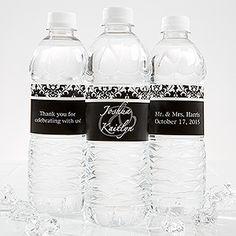 Damask Wedding Couple Personalized Water Bottle Label - Wedding Gifts - Wedding Gifts