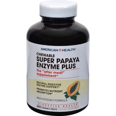 American Health Super Papaya Enzyme Plus Chewable Description: - Natural Digestive Enzyme Support - Promotes Nutrient Absorption - High-Potency Formula - Digestive Health An advanced, more powerful di