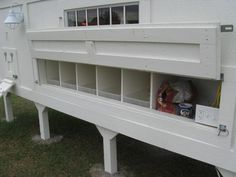 ....don't forget to include a food storage area, and note removable plastic nest box liners!