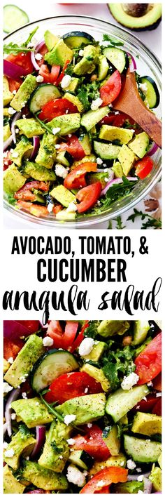 Avocado, Tomato and Cucumber Arugula Salad is fresh, delicious and light and packed with amazing flavor! Tossed in a tangy lemon glaze and topped with feta cheese, you won't be able to get enough!