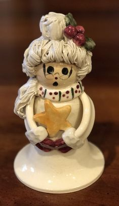 Rare NC Piney Woods Pottery Mrs. Santa Claus Star 2004 Collection JGM  #WHIMSICAL