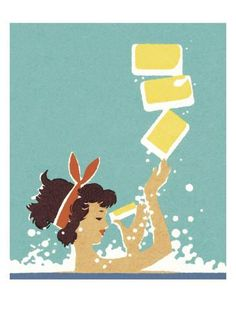 Woman in Bathtub Prints by Pop Ink - CSA Images at AllPosters.com