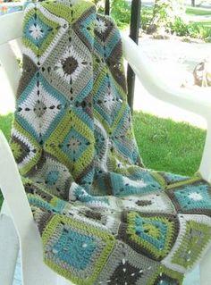 Bonita combinación de colores para una manta de grannies.