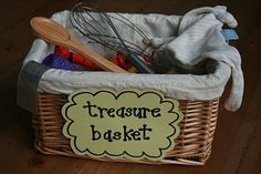 Treasure Baskets. The idea for this is called Heuristic Play, coined by child psychologist Elinor Goldschmeid, and it simply means the discovery of the properties of objects. In Heuristic play sessions, you present your baby with a selection of natural or found objects, from around the house and garden and allow them the time and space to explore them using all of their senses.  LOVE THIS!