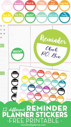 Free Printable Reminder Planner Stickers with 12 different sayings, in 2 versions: Black & White or Rainbow colors) Free Planner, Blog Planner, Happy Planner, 2015 Planner, Planner Ideas, Monthly Planner, Printable Planner Stickers, Free Printables, Calendar Stickers