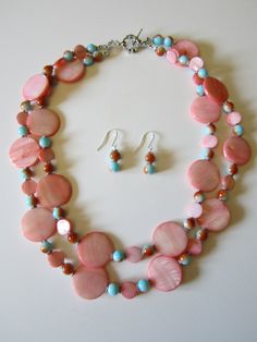 Salmon Mother of pearl double strand necklace Fall by yasmi65, $32.00
