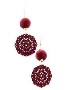 """Cercei """"Burgundy velvet""""- Anna Karenina fw'12 collection Meli Melo, Anna Karenina, Crochet Earrings, Burgundy, Velvet, Collection, Jewelry, Fashion, Moda"""