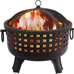 Landmann 26364 Savannah Wood Fireplace Garden Lights Savannah Fire Pit provides a 360 degree view of the fire. It features stylish square cutouts create an Fire Pit Bowl, Metal Fire Pit, Wood Burning Fire Pit, Fire Bowls, Diy Fire Pit, Burning Man, Garden Fire Pit, Fire Pit Backyard, Backyard Patio