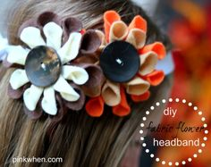DIY: Fabric Flower Tutorial (do it yourself). DIY Fabric Flower Tutorial using felt, hot glue, and cute embellishments to create beautiful accessories. Felt Flowers, Diy Flowers, Fabric Flowers, Fabric Flower Headbands, Fabric Flower Tutorial, Craft Tutorials, Diy Projects, Sewing Projects, Camping Crafts