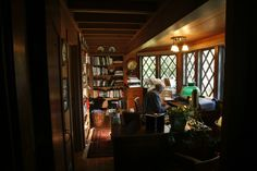 Larry Mason works in the home office, which is off the first-floor bedroom.