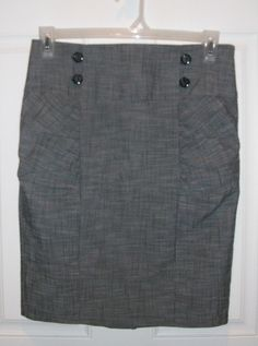 Heart Soul Jr Misses Size 11 Career Style Gray Pencil Skirt Smocked Sides #HeartSoul #StraightPencil